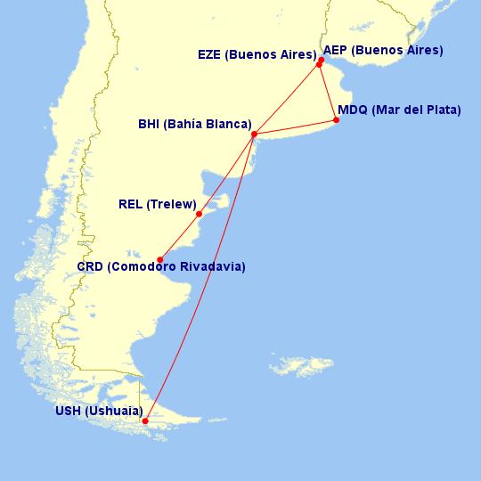 Destinos regulares del Aeropuerto de Bahia Blanca
